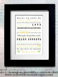 Personalised Rules To Love By ~ Wedding ~ Anniversary ~ Love