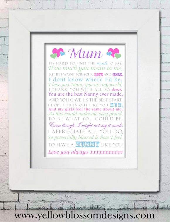 Personalised Mum Print ~ Word Art ~  Bespoke ~ Love Mummy