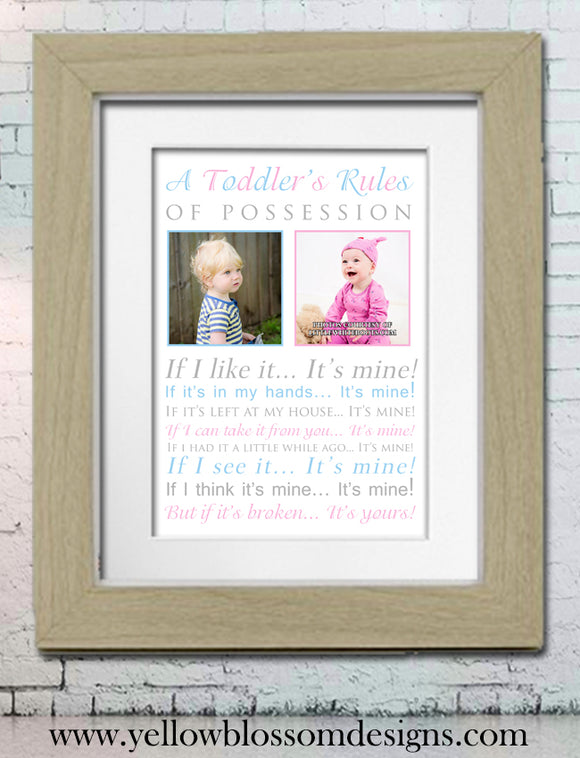 Toddler Rules Personalised Photo Printed Art Work