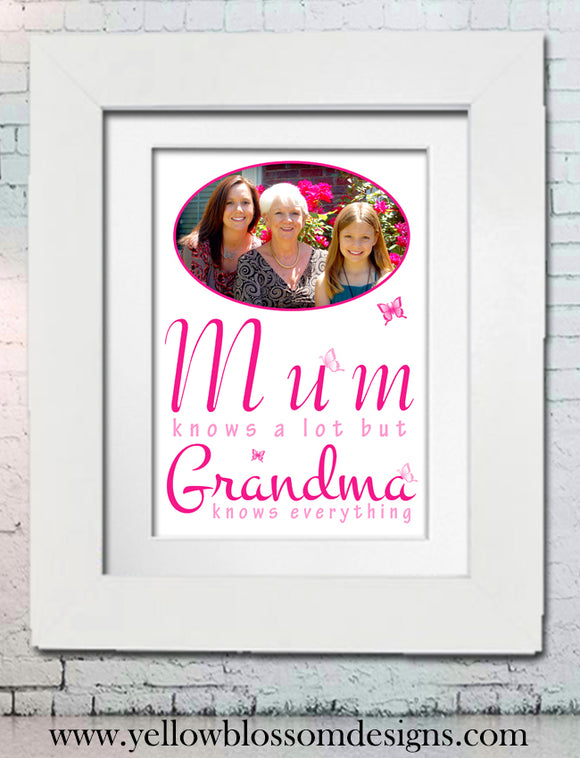 Grandparent prints yellowblossomdesignsltd grandma knows everything personalised photo word art framed print pronofoot35fo Image collections