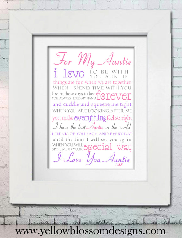 For My Auntie Poem Print ~ Great Aunt Gift From Niece / Nephew