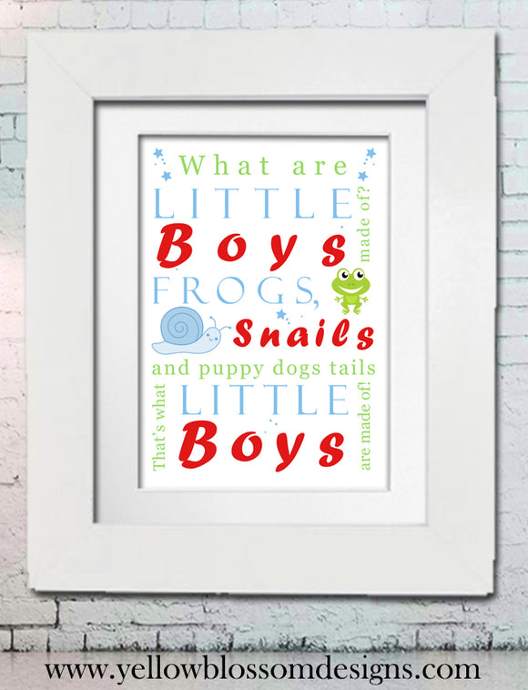 What Are Little Boys Made Of Word Art Framed Print