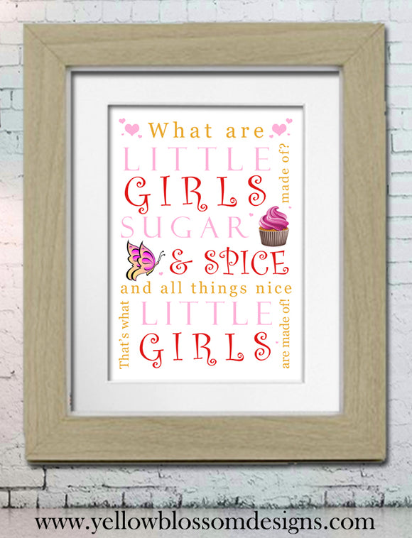 What Are Little Girls Made Of Word Art Framed Nursery Print