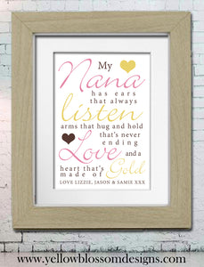 My Nana Nanny Nan Gran Granny ~ Fully Personalised Framed Word Print
