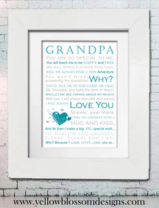 Grandpa You Are So Special To Me ~ Framed Typography Print