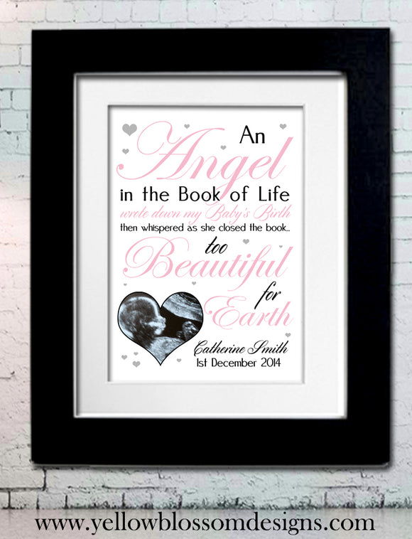 Baby Angel Framed Print ~ Beautiful Keepsake ~ Boy, Girl, Twins - YellowBlossomDesignsLtd