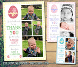 Cute Egg Joint Boy Girl Twins Photo Personalised Thank You Cards Easter ~ QUANTITY DISCOUNT AVAILABLE