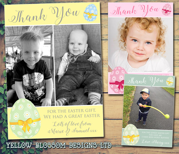 Eggs Green Orange Pink Yellow Joint Boy Girl Twins Photo Personalised Thank You Cards Easter ~ QUANTITY DISCOUNT AVAILABLE