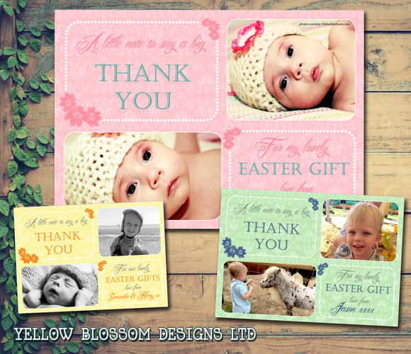 Classic Floral Flowers Pink Yellow Green Blue Joint Boy Girl Twins Photo Personalised Thank You Cards Easter ~ QUANTITY DISCOUNT AVAILABLE