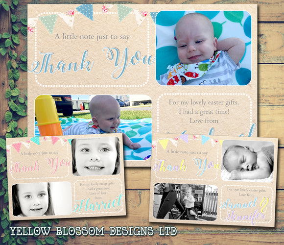 Vintage Shabby Chic Bunting Joint Boy Girl Twins Photo Personalised Thank You Cards Easter ~ QUANTITY DISCOUNT AVAILABLE
