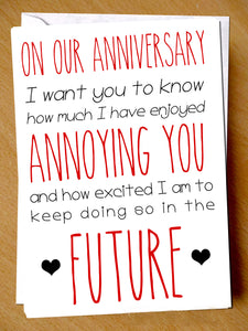 On Our Anniversary I Want You To Know How Much I Have Enjoyed Annoying You