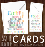 Daddy I We Love You For All That You Do Father's Day Card Dad Birthday Card Christmas Card Kids Love Child