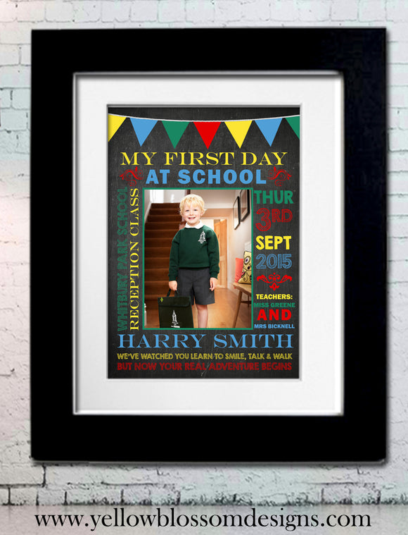First Day At School ~ Child Keepsake Print ~ Personalised