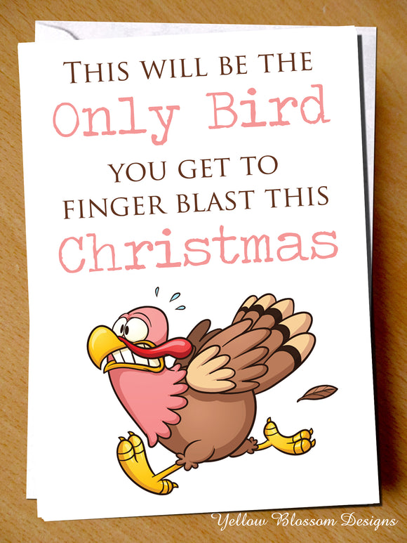 Only Bird You Will Finger Blast This Christmas ~ Rude Greetings Card