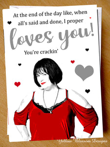 Funny Valentine's Day Card Anniversary Birthday I Loves You Nessa Gavin & Stacey You're Crackin' Him Her Wife Hubsand Couple Partner Boyfriend Girlfriend Joke Cheeky …