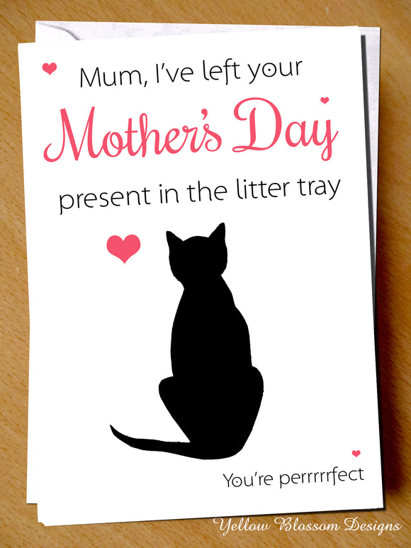 Funny Mothers Day Card Cat Pet Animal Pet Perrrfect Joke Comical Wife Girlfriend Left Your Present In The Litter Tray You're Perrrrfect Joke Humour Cheeky