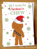 All I Want For Chrismas Is Chew Greeting Card Cute Love Couple - YellowBlossomDesignsLtd