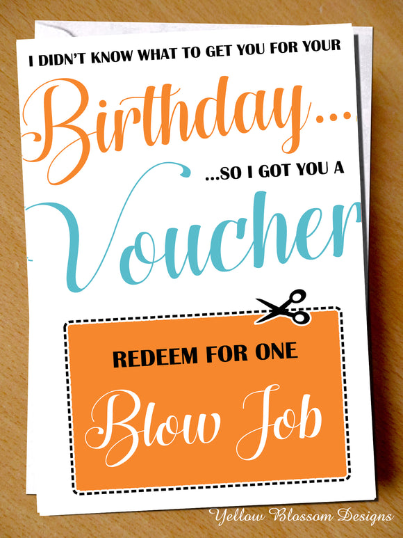 Naughty & Rude Birthday Card Voucher ~ Blowjob ~ Husband, Boyfriend, Fiance