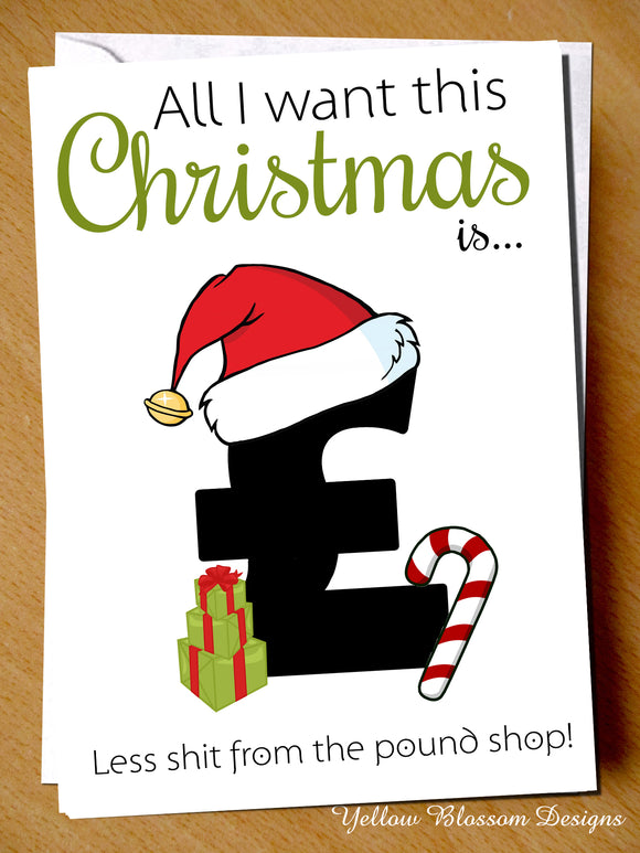 All I Want For Christmas Is Less Shit From The Pound Shop ~ Xmas Greetings Card Funny