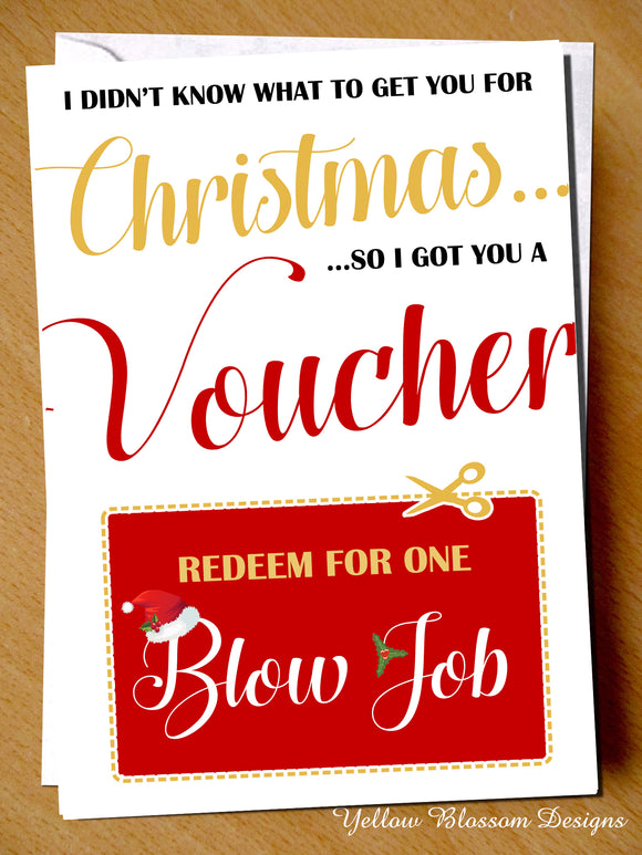 Naughty & Rude Christmas Card Voucher ~ Blowjob ~ Husband, Boyfriend, Fiance