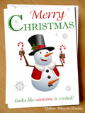 Rude Naughty Snowman Christmas Card ~ Looks Like Someone Is Excited!
