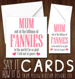 Rude Mothers Day Card Funny Humour Joke Fannies Mum For Her Women Comical Cheeky Out Of The Billions Of Fannies Fell Out Of Yours …