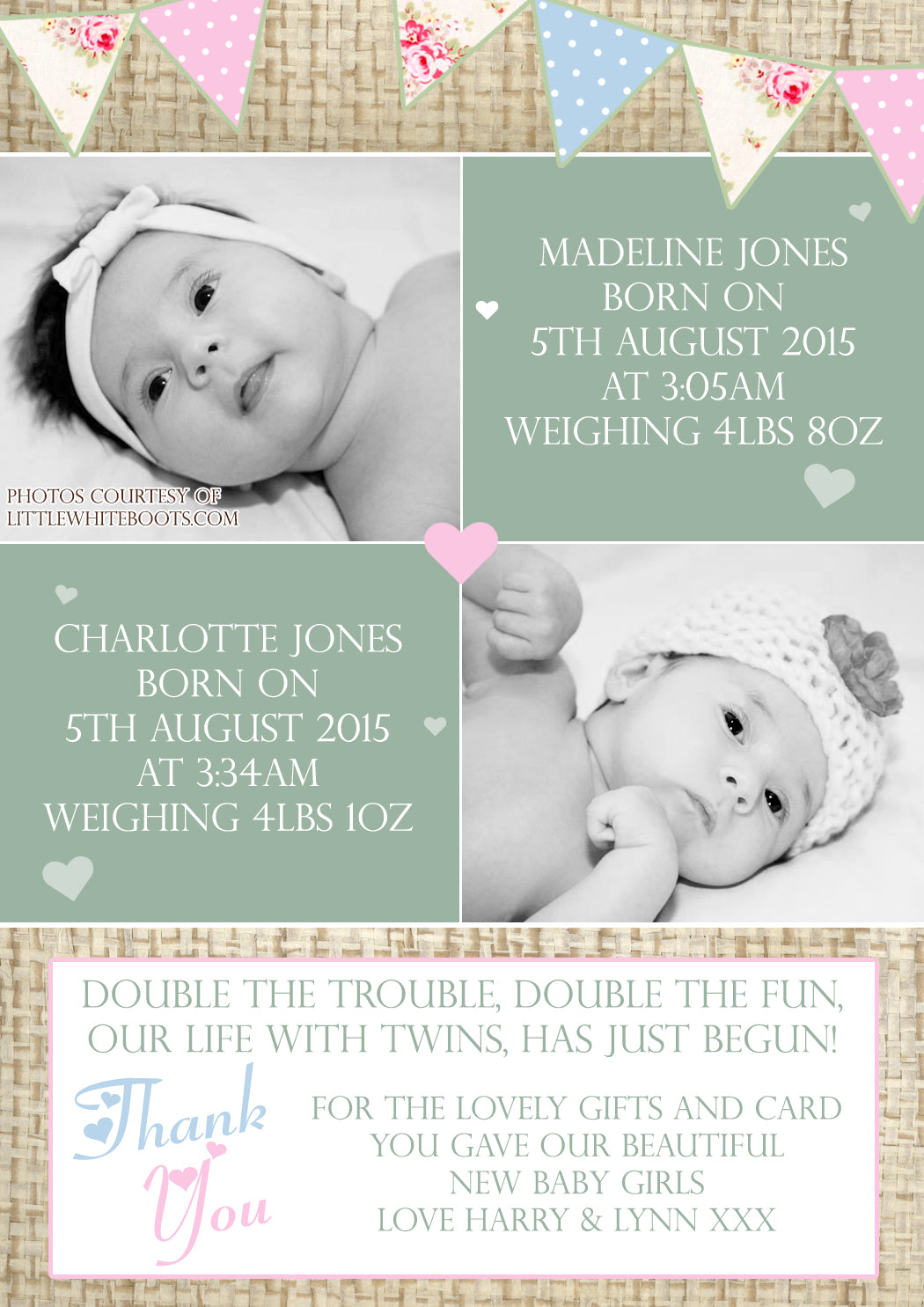 Hessian Rustic Shabby Chic Message Note New Born Baby Twin Birth
