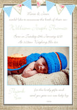 Rustic Bunting Boy Girl Twins Shabby New Born Baby Birth Announcement Photo Cards Personalised Bespoke ~ QUANTITY DISCOUNT AVAILABLE