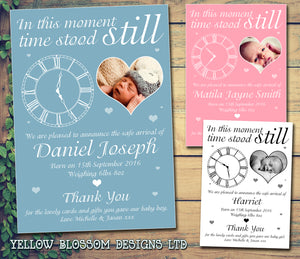 In This Moment Time Stood Still Clock Message Note New Born Baby Birth Announcement Photo Cards Personalised Bespoke ~ QUANTITY DISCOUNT AVAILABLE