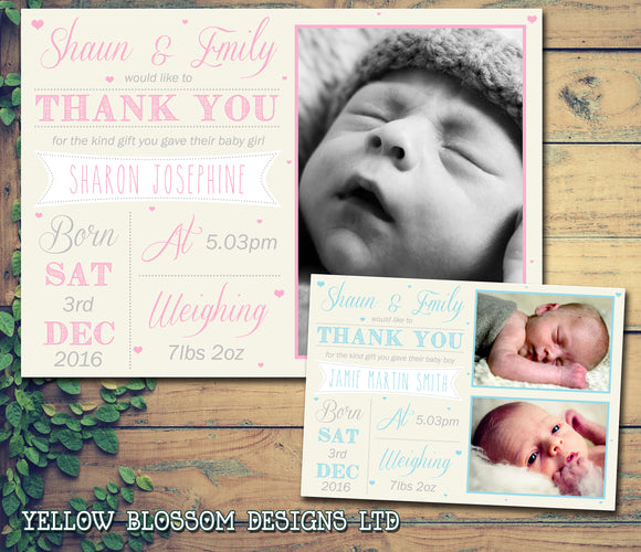 Classic Fresh Thank You Message Note New Born Baby Birth Announcement Photo Cards Personalised Bespoke ~ QUANTITY DISCOUNT AVAILABLE - YellowBlossomDesignsLtd