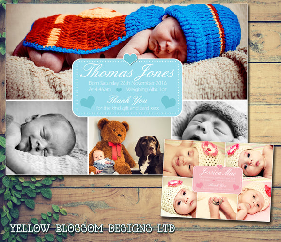Multiple Photos Montage Thank You Message Note New Born Twin Baby Birth Announcement Photo Cards Personalised Bespoke ~ QUANTITY DISCOUNT AVAILABLE