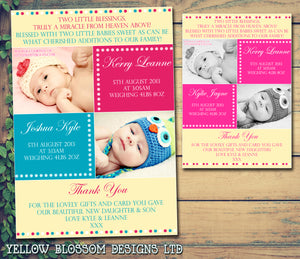 Double The Trouble Boy Girl Twins New Born Baby Birth Announcement Photo Cards Personalised Bespoke ~ QUANTITY DISCOUNT AVAILABLE