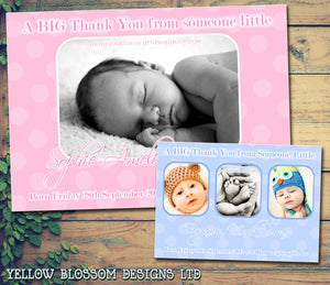BIG Thank You From Someone Little Boy Girl Twins New Born Baby Birth Announcement Photo Cards Personalised Bespoke ~ QUANTITY DISCOUNT AVAILABLE - YellowBlossomDesignsLtd