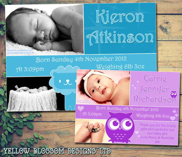Owl Lion Boy Girl Twins New Born Baby Birth Thank You Announcement Photo Cards Personalised Bespoke ~ QUANTITY DISCOUNT AVAILABLE