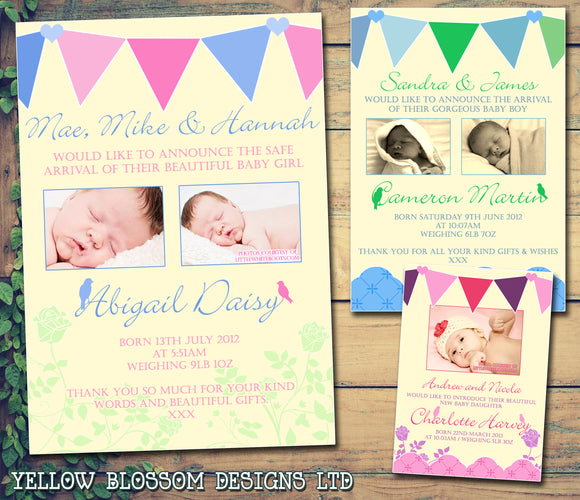 Vintage Shabby Chic Bunting Boy Girl Twins New Born Baby Birth Announcement Photo Cards Personalised Bespoke ~ QUANTITY DISCOUNT AVAILABLE