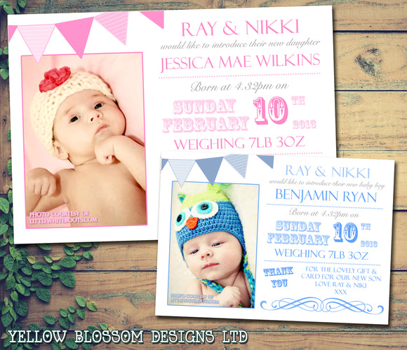 Shabby Chic Bunting Poster Carnival Message Note New Born Baby Birth Announcement Photo Cards Personalised Bespoke ~ QUANTITY DISCOUNT AVAILABLE