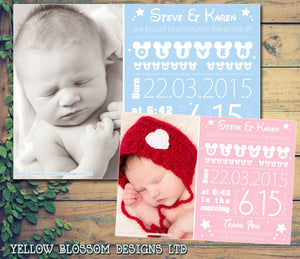 Magical Mouse New Born Baby Birth Announcement Photo Cards Personalised Bespoke ~ QUANTITY DISCOUNT AVAILABLE