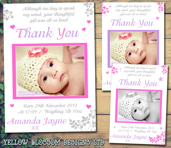 Girlie Thank You Message Note New Born Baby Birth Announcement Photo Cards Personalised Bespoke ~ QUANTITY DISCOUNT AVAILABLE