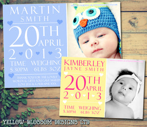 Typography Thank You Message Note New Born Baby Birth Announcement Photo Cards Personalised Bespoke ~ QUANTITY DISCOUNT AVAILABLE