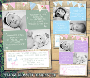 Hessian Rustic Shabby Chic Message Note New Born Baby Twin Birth Announcement Photo Cards Personalised Bespoke ~ QUANTITY DISCOUNT AVAILABLE