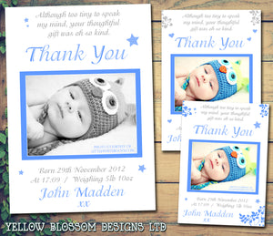 Boys Blue Thank You Message Note New Born Baby Birth Announcement Photo Cards Personalised Bespoke ~ QUANTITY DISCOUNT AVAILABLE - YellowBlossomDesignsLtd