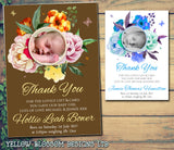 Flowers Roses New Born Baby Birth Announcement Photo Cards Personalised Bespoke ~ QUANTITY DISCOUNT AVAILABLE