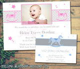 Rocking Horse Pink Blue Thank You Message Note New Born Baby Birth Announcement Photo Cards Personalised Bespoke ~ QUANTITY DISCOUNT AVAILABLE
