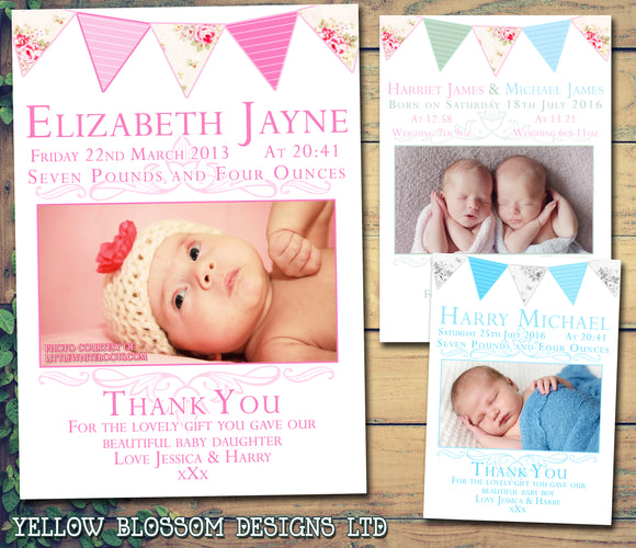 Shabby Chic Rustic Bunting Boy Girl Twins New Born Baby Birth Announcement Photo Cards Personalised Bespoke ~ QUANTITY DISCOUNT AVAILABLE
