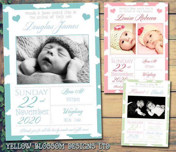 Thank You New Born Baby Birth Announcement Photo Cards Personalised Bespoke ~ QUANTITY DISCOUNT AVAILABLE