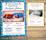 Floral Border New Born Baby Birth Announcement Photo Cards Personalised Bespoke ~ QUANTITY DISCOUNT AVAILABLE