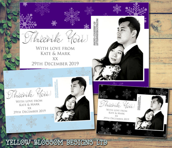 Snowflakes Winter Marriage Photo Personalised Wedding Thank You Cards ~ QUANTITY DISCOUNT AVAILABLE