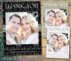 Elegant Dalmask Black White Photo Personalised Wedding Thank You Cards ~ QUANTITY DISCOUNT AVAILABLE