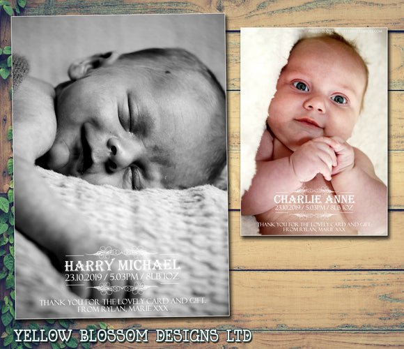 Portrait Full Photo Thank You Message Note New Born Baby Birth Announcement Photo Cards Personalised Bespoke ~ QUANTITY DISCOUNT AVAILABLE