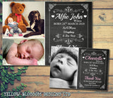 Cute Chalkboard New Born Baby Birth AnnouncementTwin Photo Cards Personalised Bespoke ~ QUANTITY DISCOUNT AVAILABLE